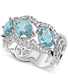 Aquamarine (2-3/4 ct. t.w.) & Diamond (1/3 ct. t.w.) Ring in 14k White Gold