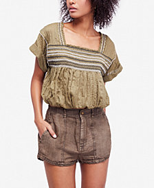 Free People Wandering Skies Embroidered Blouse