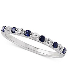 Sapphire (1/3 ct. t.w.) & White Sapphire Ring (1/4 ct. t.w.) in 14k White Gold (Also Available in Emerald)