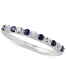 Sapphire (1/3 ct. t.w.) & White Sapphire Ring (1/4 ct. t.w.) in 14k White Gold