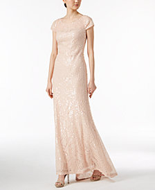 Calvin Klein Short-Sleeve Sequined Gown