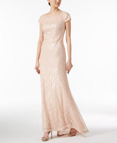 Calvin Klein Short-Sleeve Sequined Gown