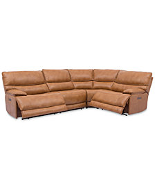 CLOSEOUT! Woodyn 4-Pc. Leather Sectional Sofa With 2 Power Recliners, Power Headrests, Lumbar And USB Power Outlet