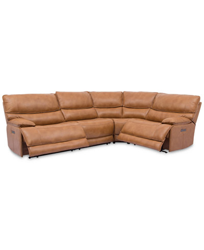 Woodyn 4-Pc. Leather Sectional Sofa With 2 Power Recliners, Power Headrests, Lumbar And USB Power Outlet