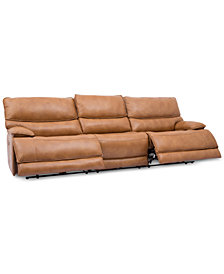 "Woodyn 122"" 3-Pc. Leather Power Reclining Sofa With 2 Power Recliners,  Power Headrests, Lumbar And USB Power Outlet"