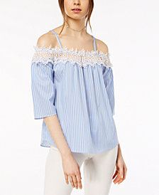 BCX Juniors' Striped Crochet Off-The-Shoulder Blouse