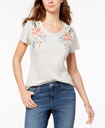 Style & Co Petite Embroidered Cotton T-Shirt, Created for Macy's