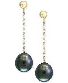 Pearl by EFFY® Cultured Black Tahitian Pearl (9mm) Drop Earrings in 14k Gold
