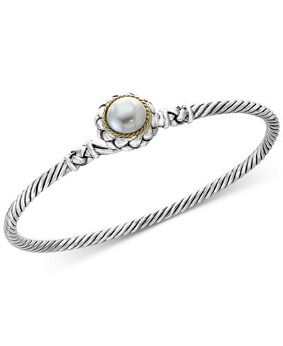 Balissima by EFFY® Cultured Freshwater Pearl (9mm) Bangle Bracelet in Sterling Silver & 18k Gold