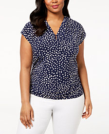 Anne Klein Plus Size Printed V-Neck Top