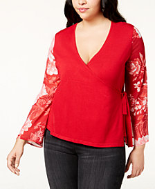 I.N.C. Plus Size Printed-Sleeve Wrap Sweater, Created for Macy's