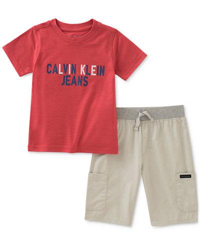 Calvin Klein 2-Pc. Graphic-Print T-Shirt & Shorts Set, Toddler Boys