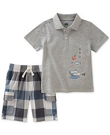 Kids Headquarters 2-Pc. Graphic-Print Cotton Polo & Checked Shorts Set, Little Boys