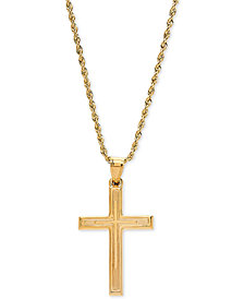 "Engraved Cross 20"" Pendant Necklace in 14k Gold"