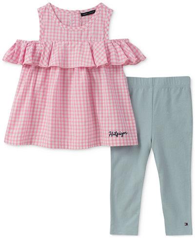 Tommy Hilfiger 2-Pc. Gingham Cold-Shoulder Tunic & Leggings Set, Baby Girls