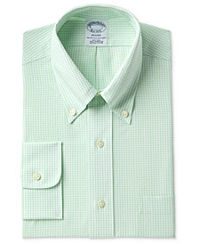 Brooks Brothers Men's Regent Slim-Fit Non-Iron Polo Button Down Green Windowpane Dress Shirt