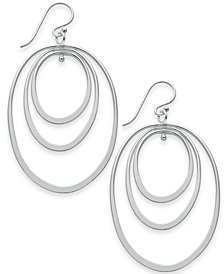 Essentials Extra Large Silver Plated Triple Oval Hoop Drop Earrings