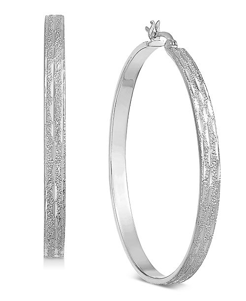 Essentials Large Silver Plated Textured Flat Hoop Earrings