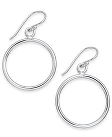 Essentials Medium Silver Plated Polished Circle Drop Earrings