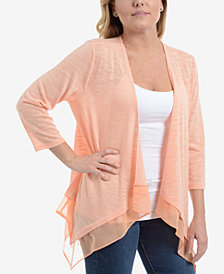NY Collection Draped Chiffon-Trim Cardigan