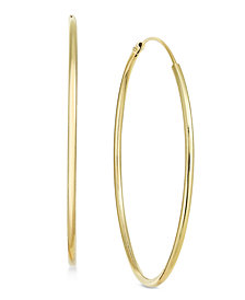 Essentials Large Gold Plated Endless Wire Hoop Earrings
