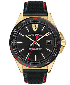 Ferrari Men's Pilota Black Leather Strap Watch 45mm