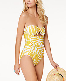 Carmen Marc Valvo Palm Printed Tummy-Control Cutout One-Piece Swimsuit