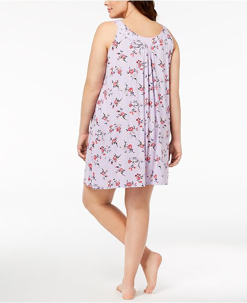Print Bouquet Bouquet Plus Nightgown Macy's Pleated Size Created for Alfani qHRgwUq