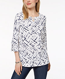 JM Collection Petite Lattice-Trim Crinkle Top, Created for Macy's