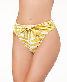 Carmen Marc Valvo Printed Front-Tie Bikini Bottoms