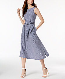 Anne Klein Plaid Sash-Tie Dress