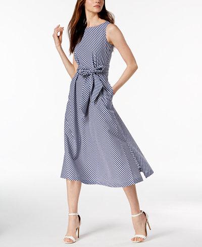 Anne Klein Plaid Sash-Tie Dress