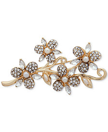 Anne Klein Gold-Tone Crystal & Imitation Pearl Flower Pin, Created for Macy's