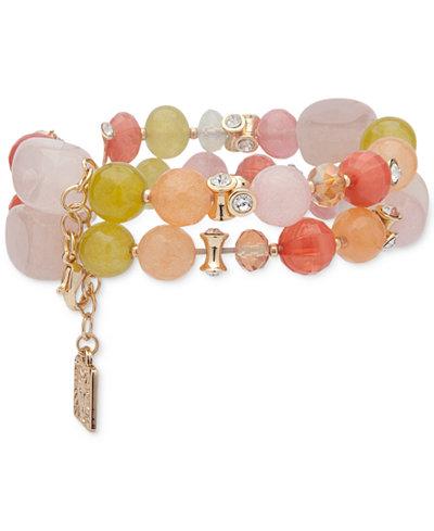 Anne Klein Gold-Tone Multi-Stone Double-Row Stretch Bracelet