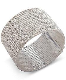 Anne Klein Silver-Tone Crystal Wide Cuff Bracelet