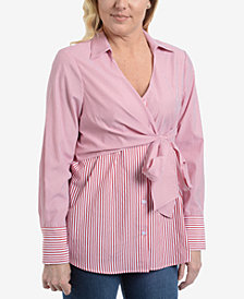 NY Collection Striped Tie-Waist Blouse