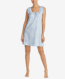 Lauren Ralph Lauren Classic Knits Ruffle-Trim Cotton Nightgown