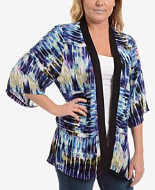NY Collection Printed Open-Front Kimono