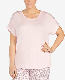 DKNY Plus Size Petal-Back Chiffon-Panel Top