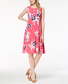 JM Collection Printed Keyhole Dress, Created for Macy's