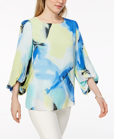 Alfani Pleated Bubble-Sleeve Top, Created for Macy's