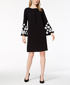 Alfani Floral-Appliqué Bell-Sleeve Dress, Created for Macy's