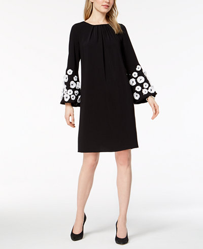 Alfani Floral-Appliqué Bell-Sleeve Dress, Created for Macy's