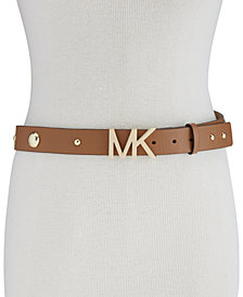 MICHAEL Michael Kors Studded Pebble Leather Belt
