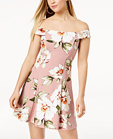 Speechless Juniors' Printed Off-The-Shoulder Fit & Flare Dress