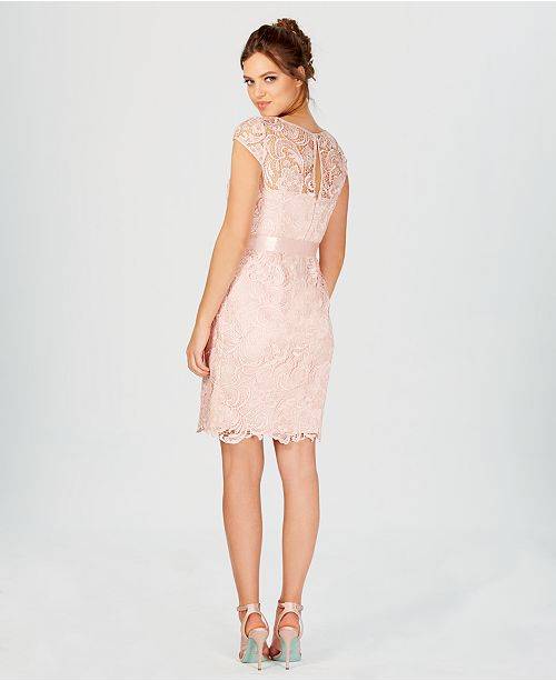 686e831a3ba5 Adrianna Papell Lace Cap-Sleeve Illusion Sheath Dress & Reviews ...