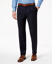 Men's Classic-Fit Ultraflex Stretch Navy Solid Double Reverse Pleated Dress Pants