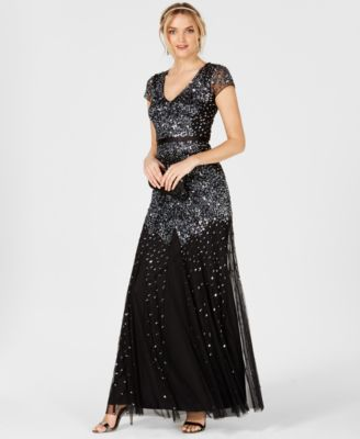 Cap-Sleeve Embellished Gown