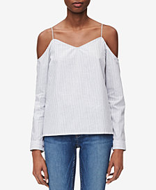 Calvin Klein Jeans Cotton Cold-Shoulder Striped Top