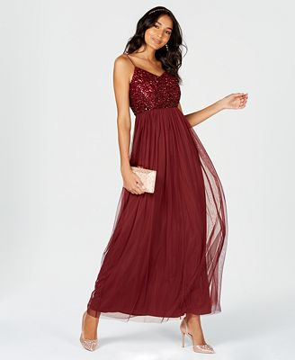 Adrianna Papell Sequined Tulle Gown Dresses Women Macy S